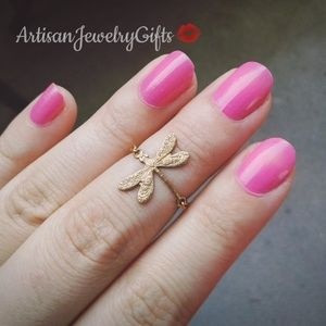 Gold Dragonfly Ring Midi Ring Knuckle Ring